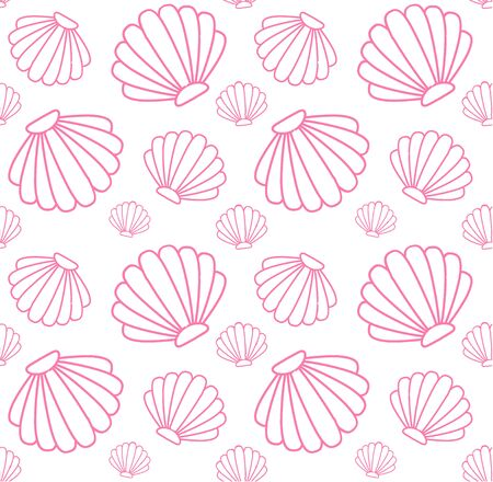 Vector seamless pattern of pink shell isolated on white background