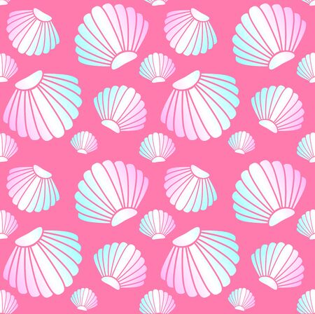 Vector seamless pattern of line holographic shell isolated on pink background