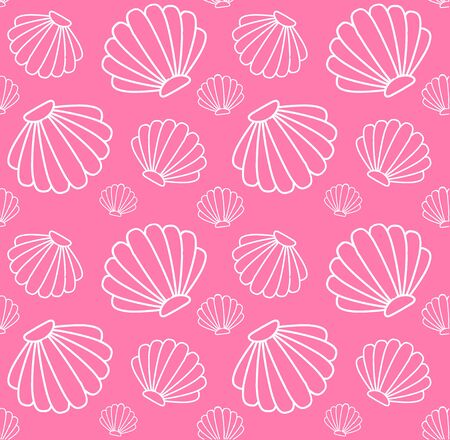 Vector seamless pattern of white shell contour isolated on pink background Çizim