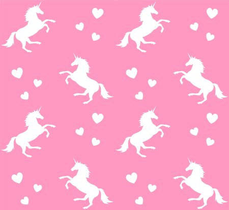 Vector seamless pattern of white unicorn silhouette and hearts isolated on pink background Çizim
