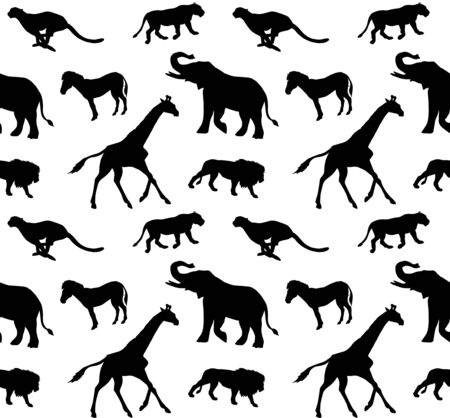 Vector seamless pattern of flat black african animals silhouette isolated on white background Illustration