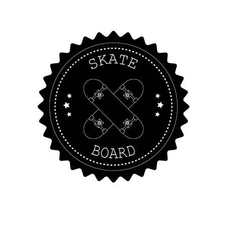 Vector flat retro round skateboard isolated on white Ilustrace