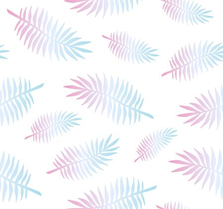 Vector seamless pattern of holographic palm leaves isolated on white background