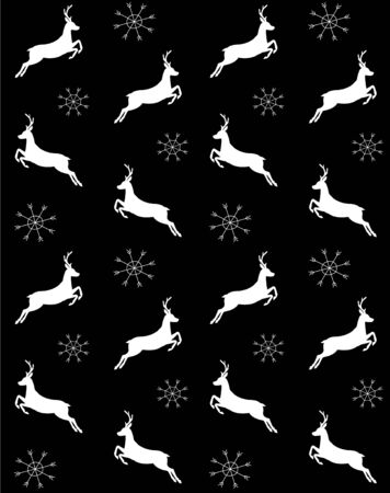 Vector seamless pattern of deer and snowflakes isolated on black background