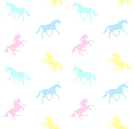 Vector seamless pattern of pastel unicorn silhouette isolated on white background Çizim
