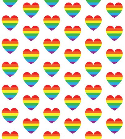 Vector seamless pattern of rainbow flag heart isolated on white background