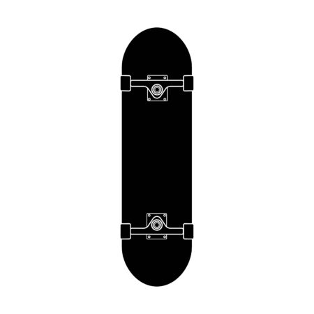 Vector flat black icon of skateboard isolated on white