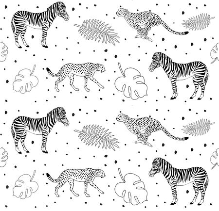 Vector seamless pattern of black line hand drawn zebra and cheetah floral tropical isolated on white background Standard-Bild - 130088719