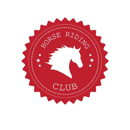 Vector red flat retro logo with horse head silhouette and horse riding club text isolated on white background 向量圖像