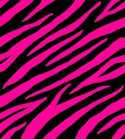 Vector seamless pattern of zebra tiger stripes fur skin print isolated on fuchsia pink background Ilustrace