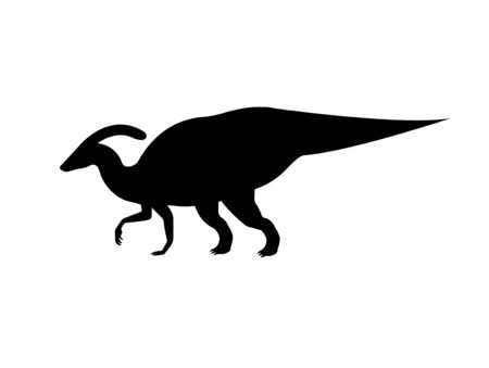 Vector flat black silhouette of parasaurolophus dinosaur isolated on white background