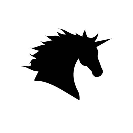 Vector flat black silhouette of unicorn head isolated on white background