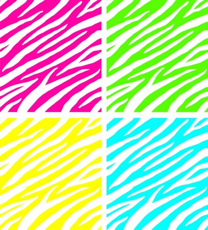 Vector set of seamless neon color zebra print pattern isolated on black background