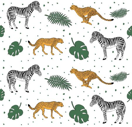 Vector seamless pattern of hand drawn doodle sketch zebra and cheetah floral tropical isolated on white background Standard-Bild - 130088863