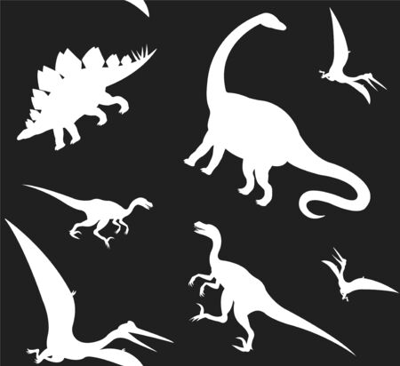 Vector seamless pattern of white different dinosaur silhouette isolated on black background
