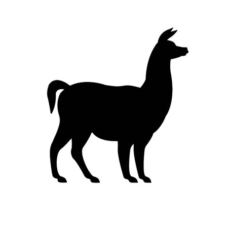 Vector flat black silhouette of llama isolated on white background