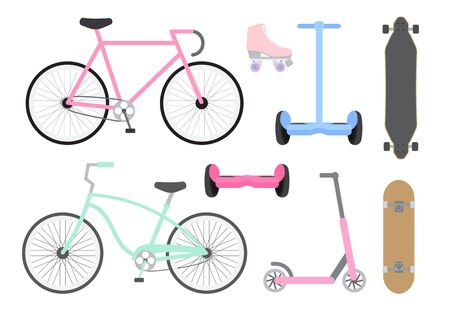 Vector set collection of flat cartoon different summer transport isolated on white background