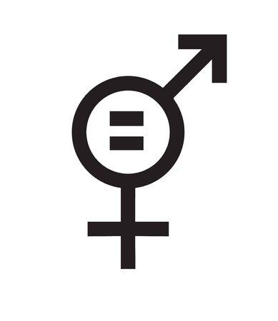 Vector flat black icon of feminism women equality isolated on white background Illusztráció