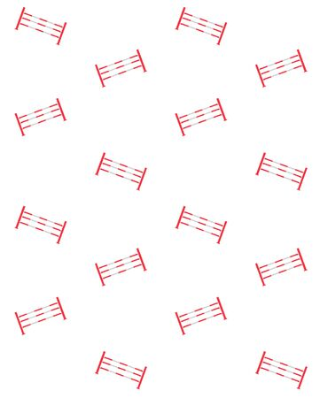 Vector seamless pattern of equestrian horse show jumping obstacles isolated on white background