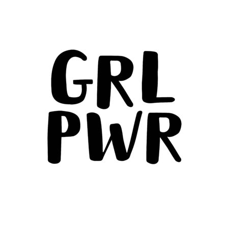 Vector flat black hand drawn lettering grl pwr isolated on white background