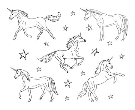 Vector hand drawn doodle sketch set collection of unicorn isolated on white background