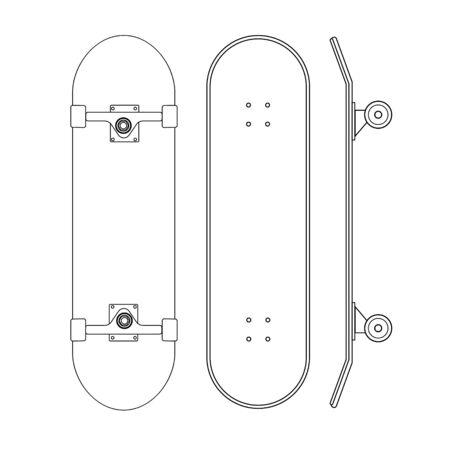 Conjunto de línea de dibujos animados planos vectoriales de diferentes lados del monopatín aislados sobre fondo blanco Ilustración de vector