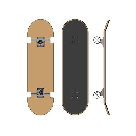 Vector flat cartoon set collection of skateboard isolated on white background