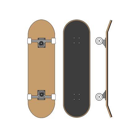 Vector platte cartoon set collectie van skateboard geïsoleerd op een witte achtergrond