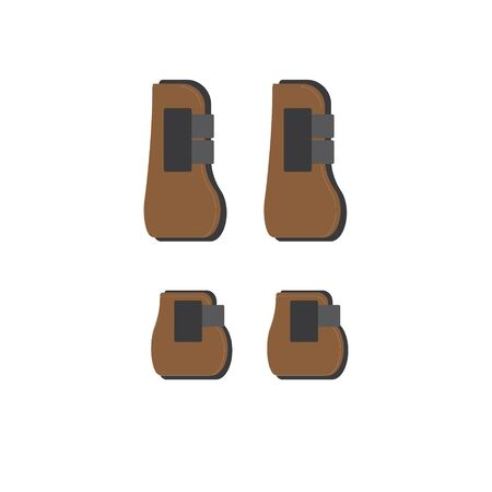 Vector  icon of cartoon flat horse equestrian protective boots set isolated on white background