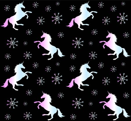 Vector seamless pattern of holographic unicorn silhouette with snow flakes isolated on black background