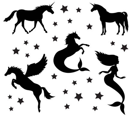 Vector flat black silhouette set collection of magic creatures isolated on white background Illustration