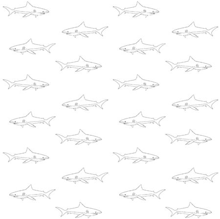 Vector seamless pattern of hand drawn doodle sketch shark isolated on white background