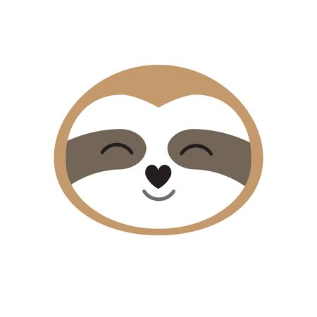 Vector flat cartoon sloth face isolated on white background