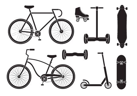 Vector set collection of black flat different summer transport icon isolated on white background Illustration