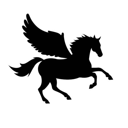 Vector black silhouette of pegasus horse with wings isolated on white background