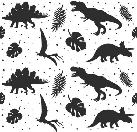 Vector seamless pattern of black dinosaur silhouette and palm leaves isolated on white background Vectores