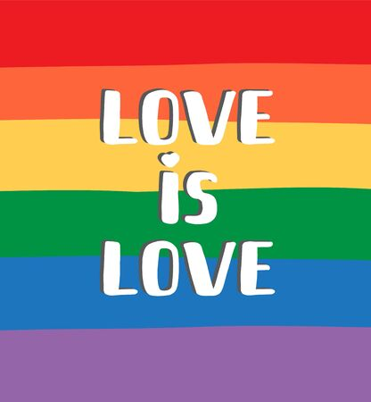 Vector flat cartoon love is love lettering isolated on rainbow flag background