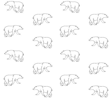 Vector seamless pattern of hand drawn grizzly bear isolated on white background