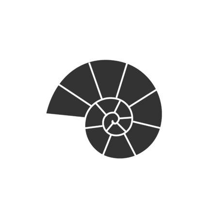 Vector plat zwart ammoniet silhouet logo geïsoleerd op een witte achtergrond