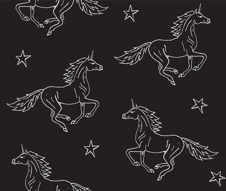 Vector seamless pattern of white line hand drawn unicorn isolated on blackbackground Illustration