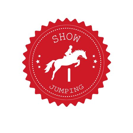 Vector flat retro round red logo with show jumping horse isolated on white background Illusztráció