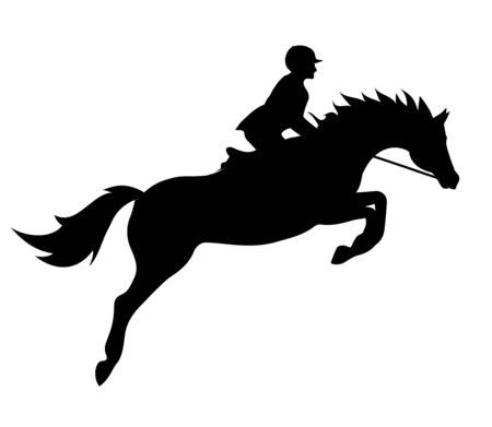 Vector plat zwart silhouet van springpaard en ruiter geïsoleerd op een witte achtergrond