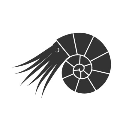 Vector flat black ammonite silhouette with tentacles and eyes isolated on white background