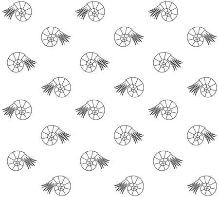 Vector seamless pattern of black line ammonite isolated on white background