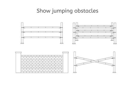 Vector flat black line set collection of show jumping obstacles isolated on white background