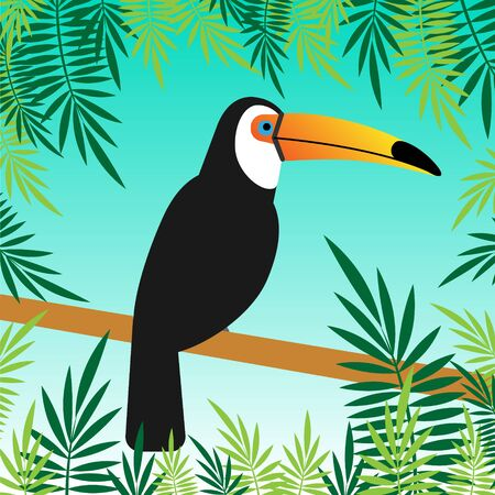 Vector flacher Karikaturtukanvogel, der auf Zweig mit Palmblättern lokalisiert auf blauer Hintergrundillustration sitzt