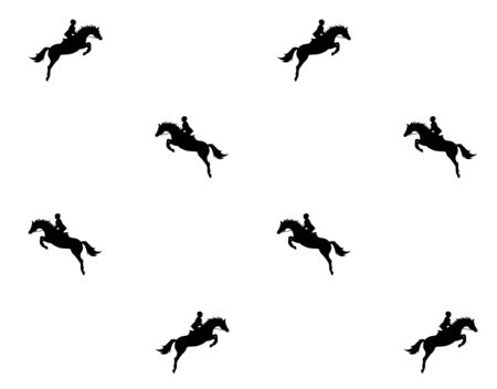 Vector seamless pattern of flat black show jumping horse and rider silhouette isolated on white background