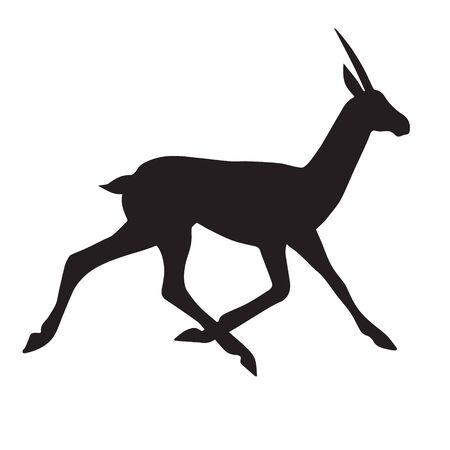 Vector black silhouette of african antelope isolated on white background