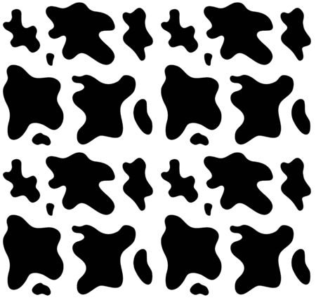 Vector seamless pattern of cow fur black and white print isolated
