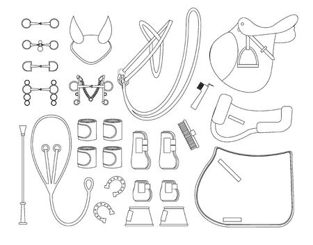 Vector black line set of horse tack and gear equipment for riding and show jumping isolated on white background 向量圖像